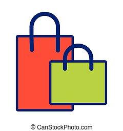 icono, bolsas, compras, estilo, línea, relleno