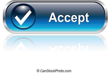 icono, botón, aceptar