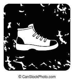icono, bota, estilo, grunge, excursionismo