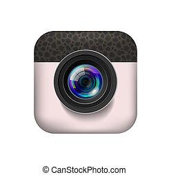 icono, cámara, foto