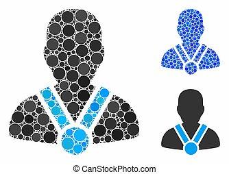 icono, círculo, composición, campeón, puntos