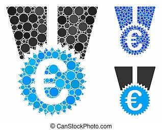 icono, círculo, euro, composición, medalla, puntos