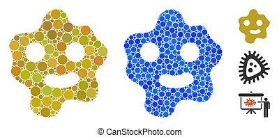 icono, círculos, mosaico, ameba
