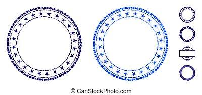 icono, círculos, starred, marco, mosaico, redondo