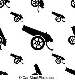 icono, cañón, estilo, seamless, arma, patrón, viejo, icono