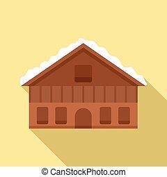 icono, cabaña, montaña, suizo, plano, estilo