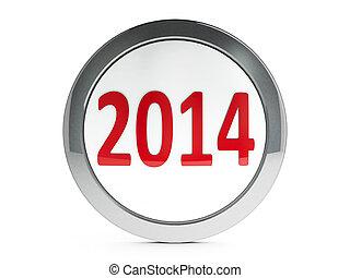 icono, calendario, 2014, con, toque de luz