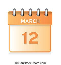 icono, calendario, vector