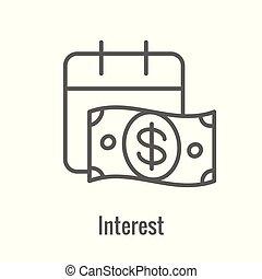 icono, cantidad, inversión, aumento, o, banca, exposiciones