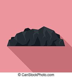 icono, carbón, estilo, plano