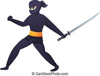 icono, caricatura, estilo, ataque, ninja