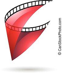 icono, carrete, transparente, película, rojo