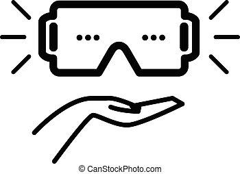 icono, -, casco, realidad virtual