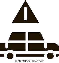icono, coche, ilustración, peligro, vector, glyph, obstrucción