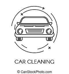 icono, compañía, servicio, limpieza, transporte, limpio, coche