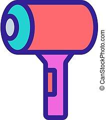 icono, compacto, hairdryer, bolsa, espacioso, contorno, ...