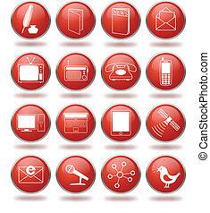 icono comunicación, conjunto, rojo, esferas