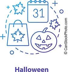 icono, concepto, halloween