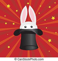 icono, conejo, y, mago, sombrero