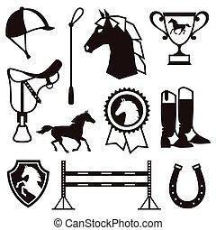 icono, conjunto, con, caballo, equipo, en, plano, style.