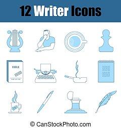 icono, conjunto, escritor