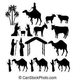 icono, conjunto, figuras., feliz navidad, design., vector,...