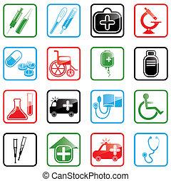 icono, conjunto, medicina