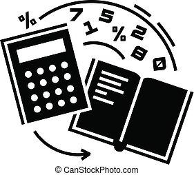 icono, contabilidad, estilo, simple