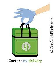 icono, contactless, vector, entrega, plano, servicio, ...