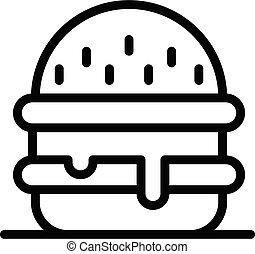 icono, contorno, estilo, hamburguesa