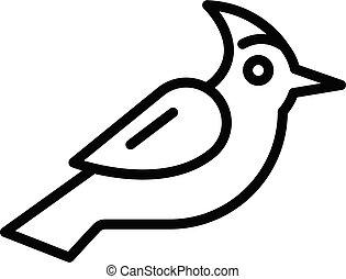 icono, contorno, estilo, pájaro carpintero