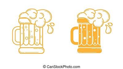 icono, copa de cerveza, lineal, estilo