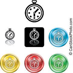 icono, cronómetro, símbolo