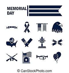 icono, día, nacional, celebración, silueta, norteamericano, ...