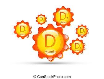 icono, d, d5, d3, orgánico, contenido, blanco, capsule., ...