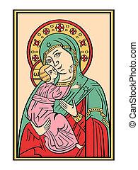 icono, de, el, madre dios