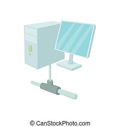 icono de la computadora, caricatura, estilo