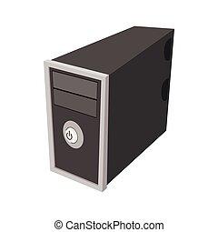 icono de la computadora, en, caricatura, estilo