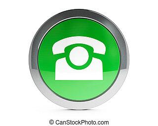 icono de teléfono, con, toque de luz