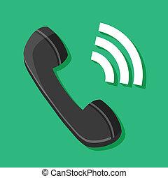 icono de teléfono, resonante, vector
