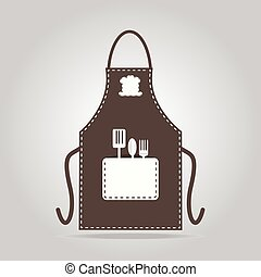 icono, delantal, cocina, cocina, señal