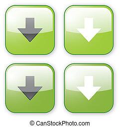 icono, descargue, verde, flecha, botón