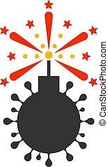icono, detonador, bomba, vector, plano, coronavirus