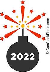 icono, detonador, fuegos artificiales, vector, 2022, plano