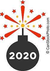 icono, detonador, fuegos artificiales, vector, plano, 2020