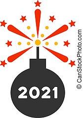 icono, detonador, fuegos artificiales, vector, plano, 2021