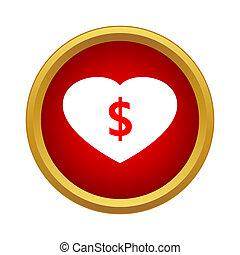 icono, dinero, estilo, amor, simple