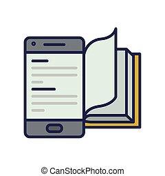 icono, electrónico, smartphone, libro