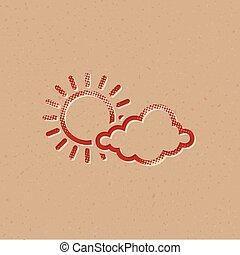 icono, en parte, -, halftone, soleado, pronóstico