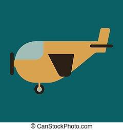 icono, en, plano, diseño, para, aeropuerto, avión ligero